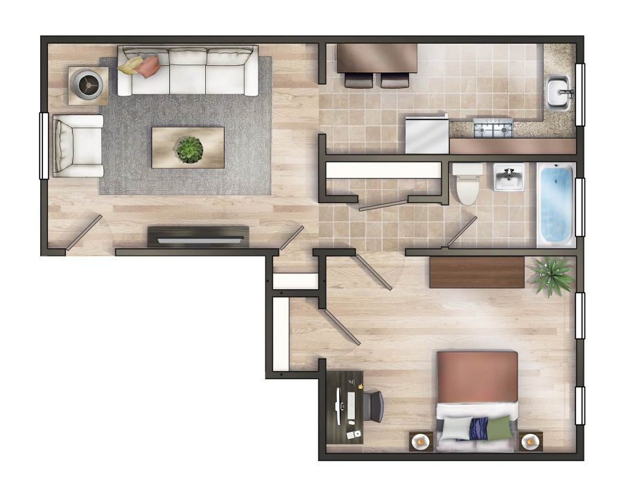 Worthington Woods One Bedroom Floor Plan