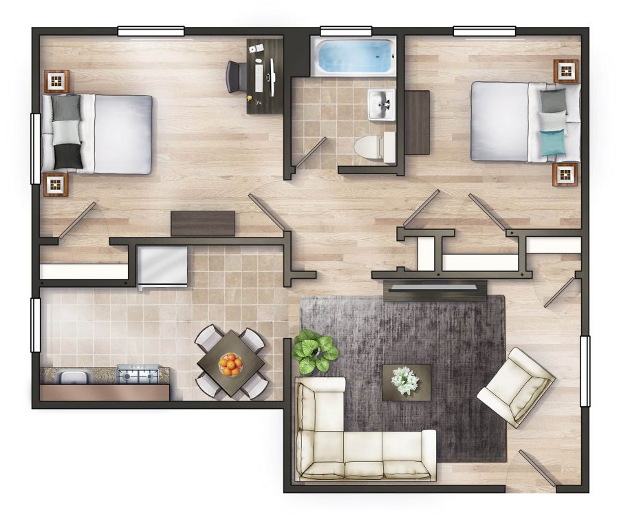 Worthington Woods Two Bedroom Floor Plan