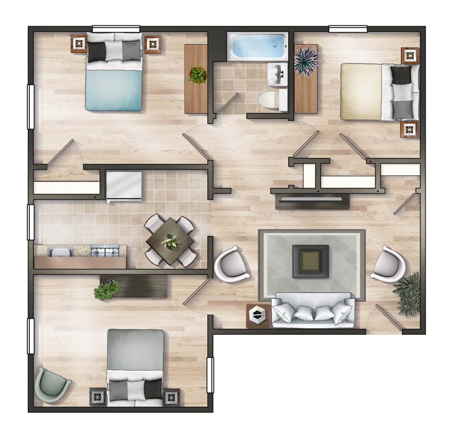 Worthington Woods Three Bedroom Floor Plan